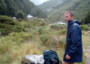 A damp Richard contemplates the Young Hut
