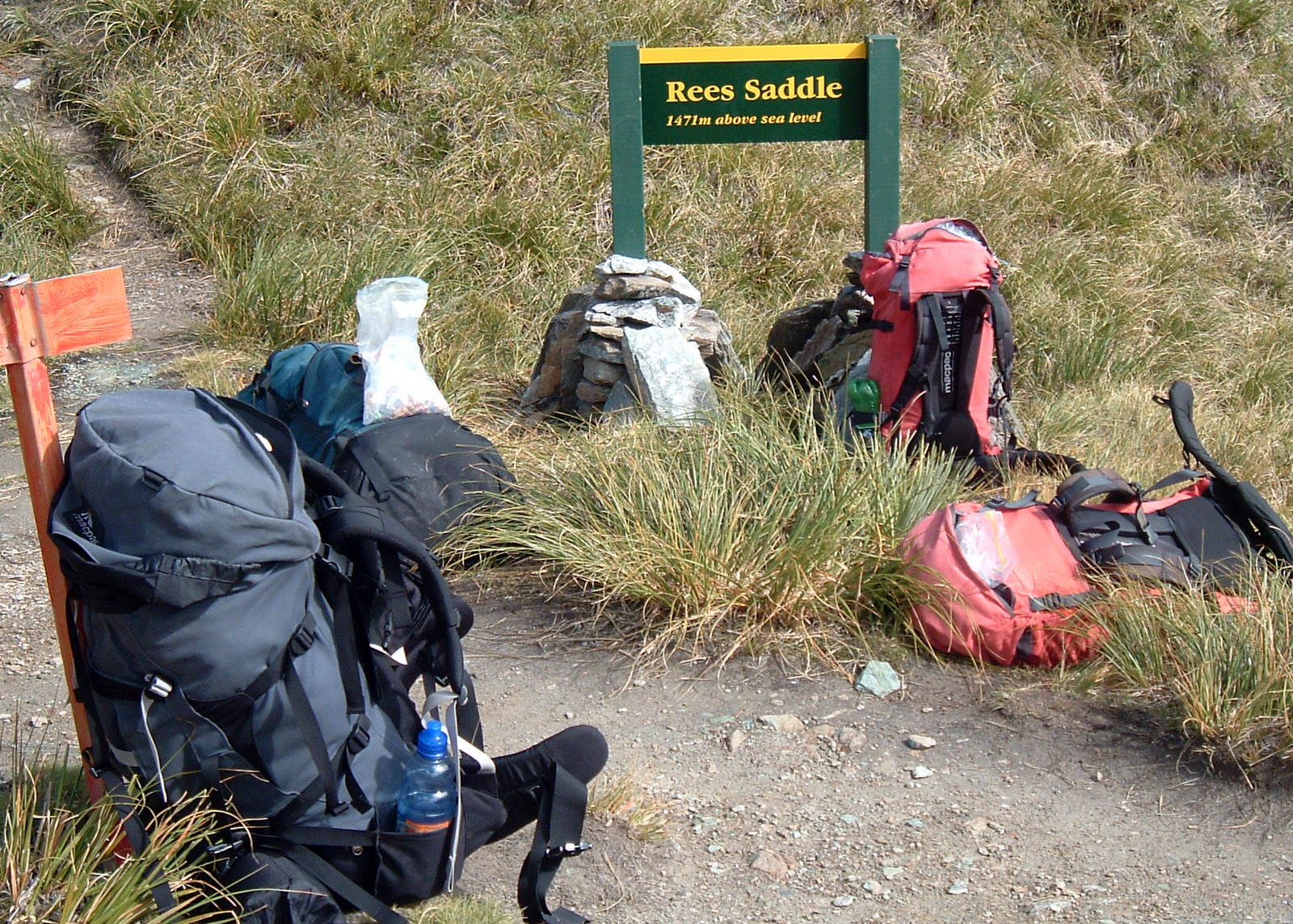 Packs ditched at the top of Rees Saddle