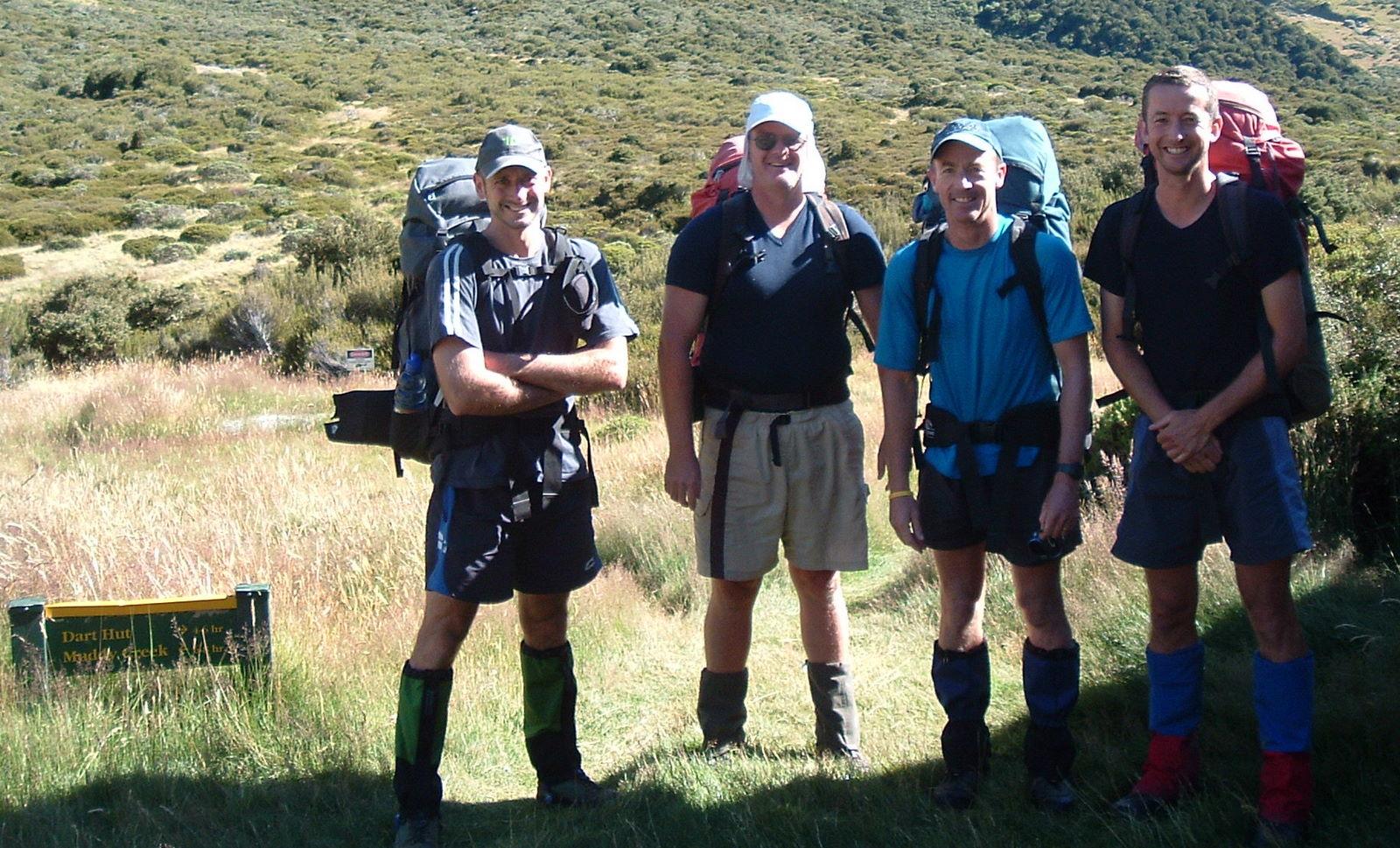 The Moa Hunters outside Shelter Rock Hut