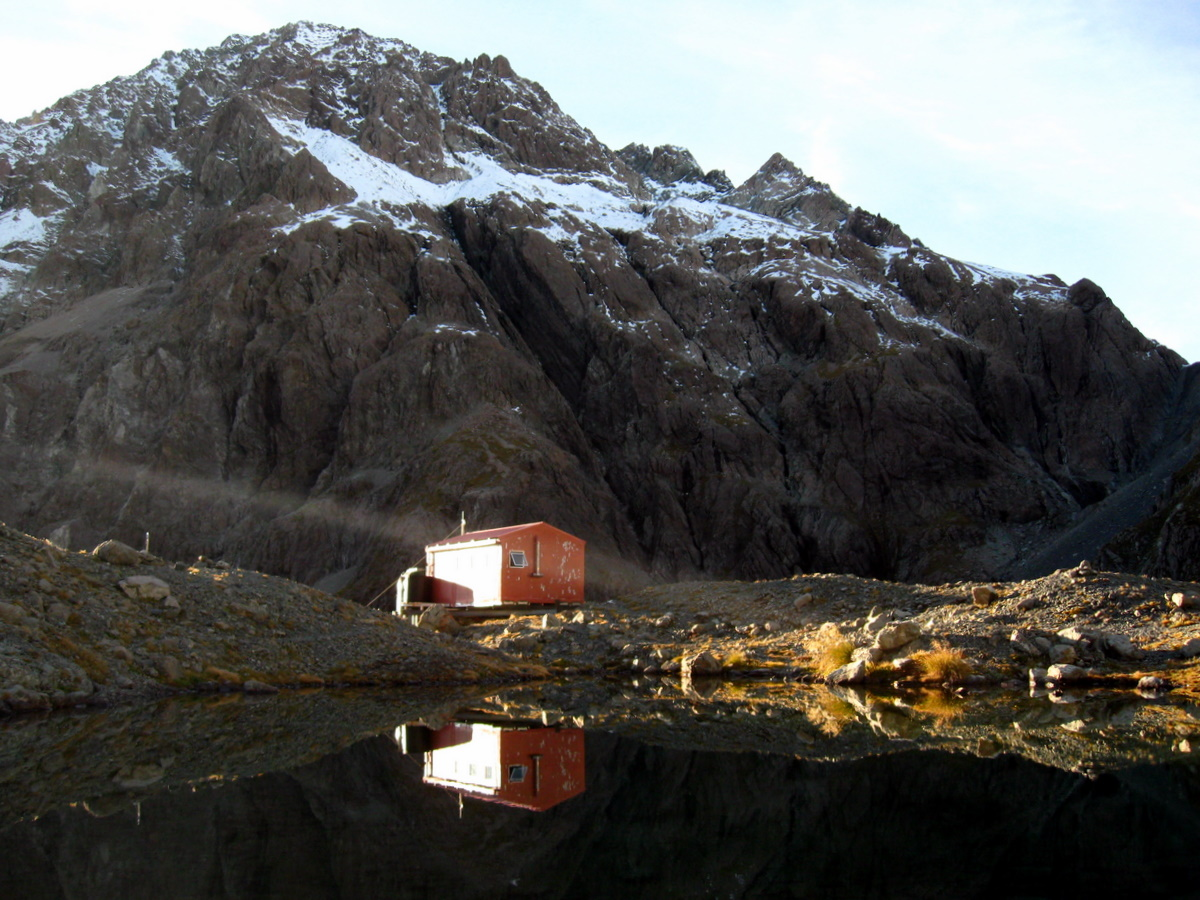 Barker Hut catches the mornings first light