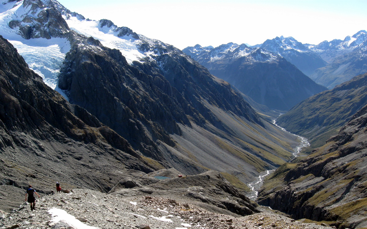 Looking down at Barker Hut and the White River valley beyond