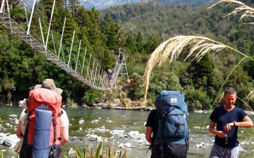 Cedar Flat swing bridge crosses the Toaroha