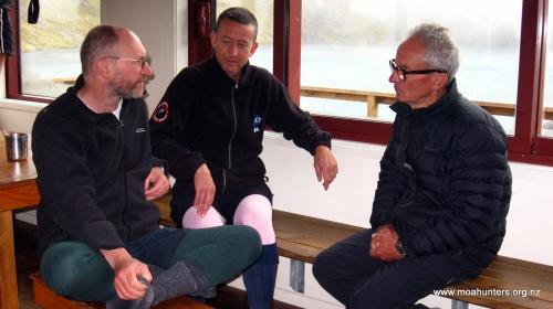 A volunteer warden politely pretending he hasn't seend Paul's pink longjohns....