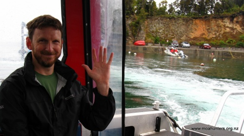 Lewis waves goodbye to Golden Bay as we head for Freshwater River