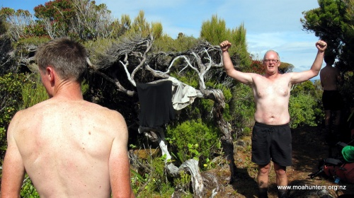 Cooling off at the high point between Mason Bay and Little Hellfire bay.