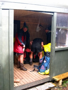 Lunch in a hunters hut porch