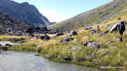 Tarns below Whitcombe pass