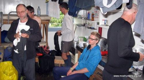 Knackered Moa Men inside Neave Hut