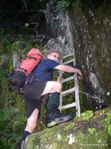Magnus climbs to the swingbridge
